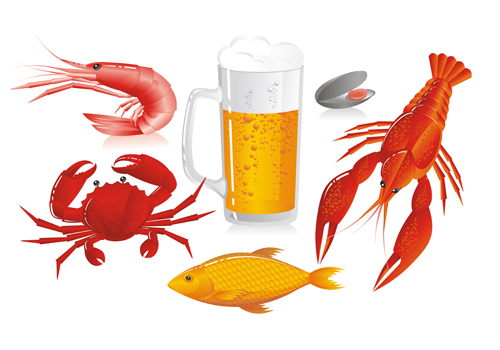 Beer and seafood vector  free