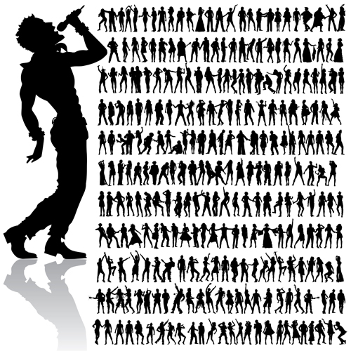 Dancing and singing people silhouettes vector graphics free