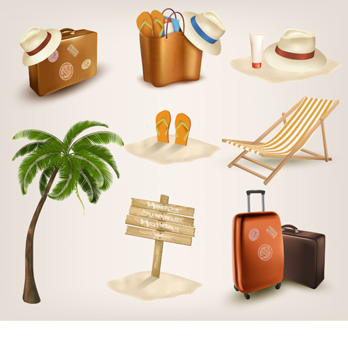 Different travel elements icons vector free