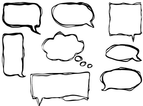 Hand drawn speech bubbles creative vector free