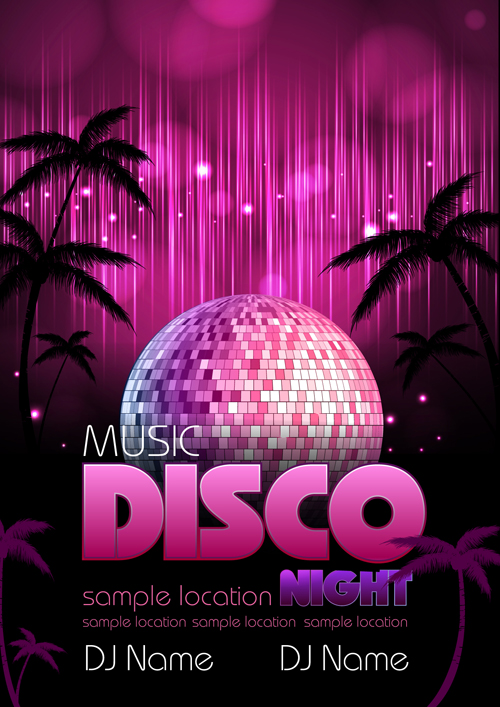 neon disco music party flyers design vector 05 free free download