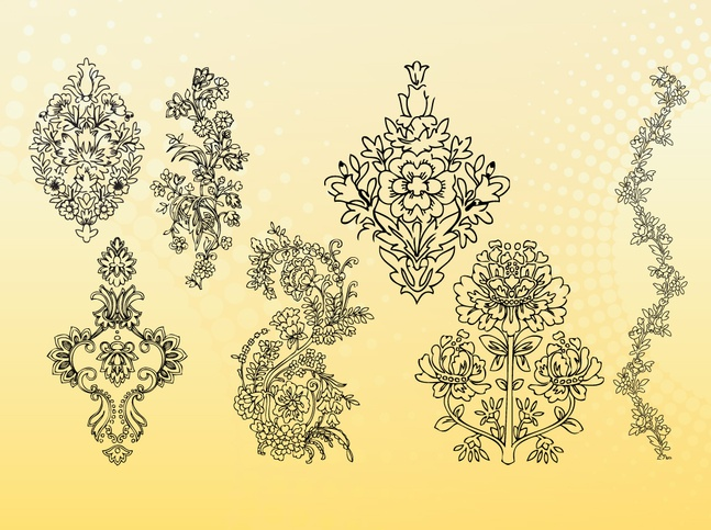 Outline Flowers Vectors free
