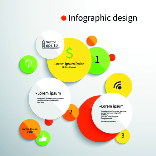 Colored round infographics design vector 04 free