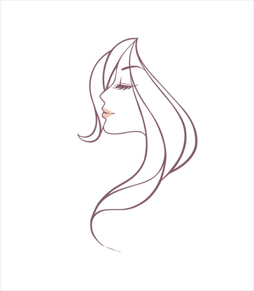 Hand drawing girl head vector graphic free