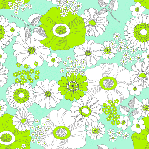 Outline flower seamless pattern vector free