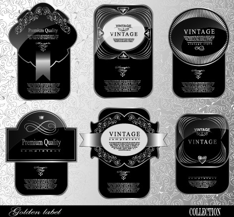 Black glass textured Label vector set 02 free