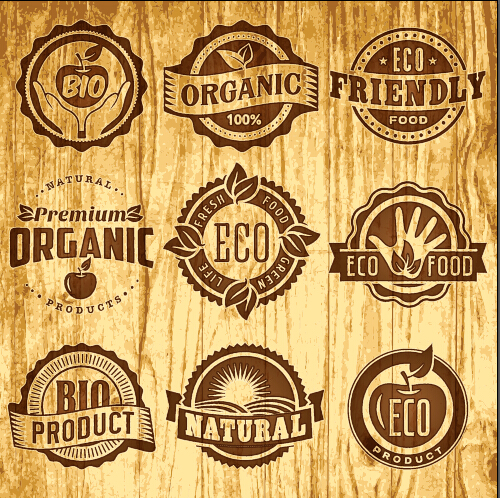 Brown retro eco food labels vector free