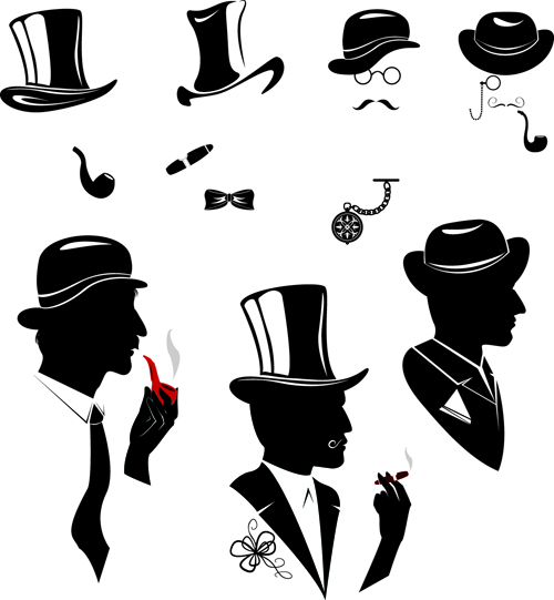 Creative man and woman silhouettes vector set 08 free