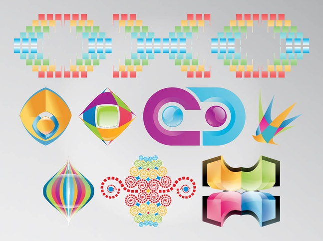 Rainbow Colored Logos vector free