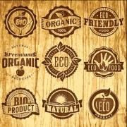 Brown retro eco food labels vector free