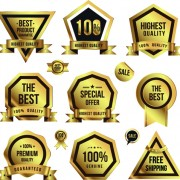 Golden sale badges and label with stickers vector 02 free