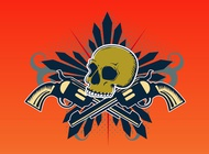 Skull With Guns vector free