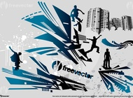 Parkour and Skate Action vector free