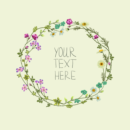 Beautiful flower frames with vintage background 02 free
