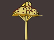 Birdhouse City vector free