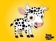 Happy Cartoon Cow vector free
