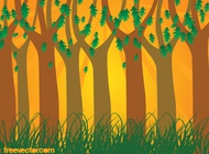 Sunset Forest Vector free