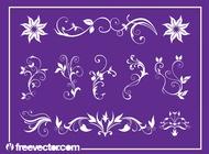 Floral Swirls Set vector free