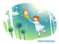 Flying Girl Vector free