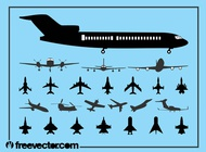 Aircraft Silhouette Set vector free
