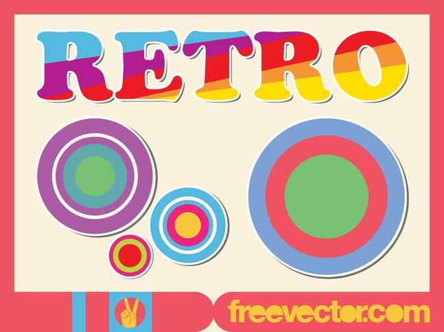 Colorful Retro Stickers vector free