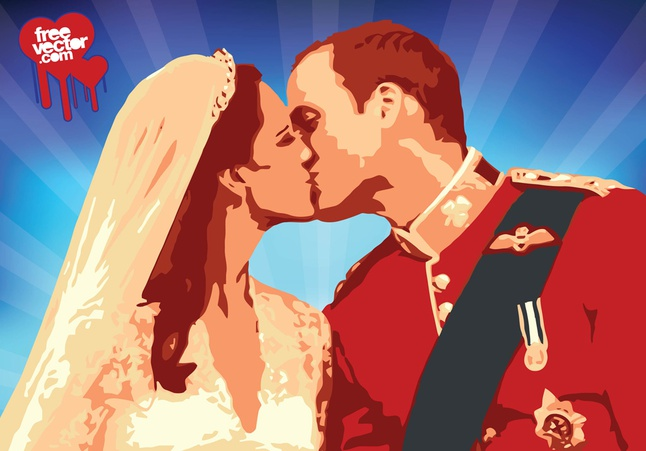 William Kate Kiss Vector free