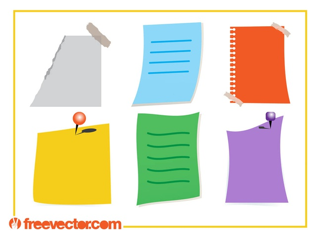 Colorful Notes Vectors free