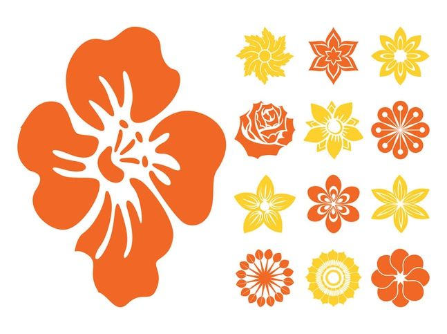 Flower Blossoms Icons vector free