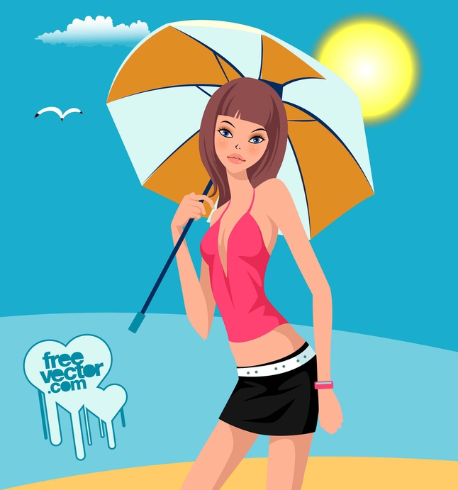 Girl With Umbrella vector free