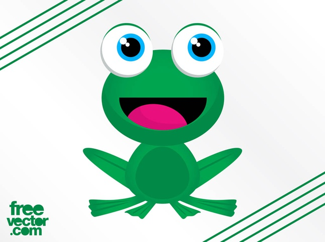 Happy Frog Character vector free