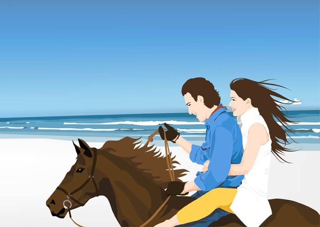 Horse Riders on Beach vector free