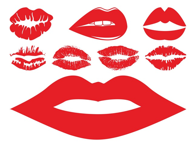 Lips And Kisses Set vector free