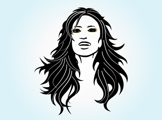 Long Haired Girl Vector free