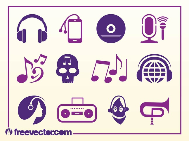 Musical Icons vector free