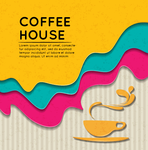 Wave coffee house background vector 04 free