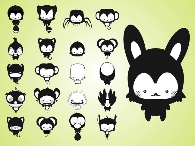 Cute Cartoon Creatures vector free