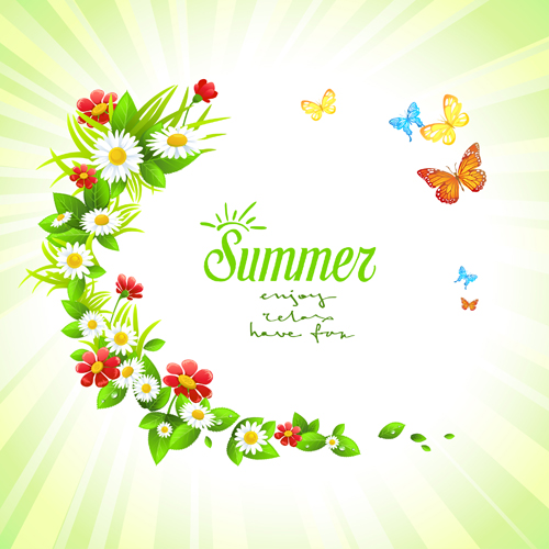 Summer flower with butterflies background free