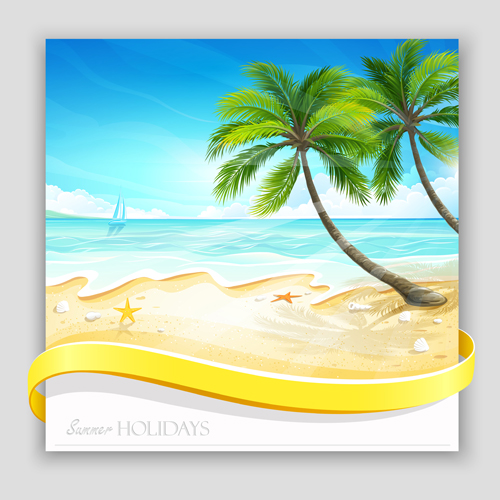 Tropical islands holiday background design vector 03 free