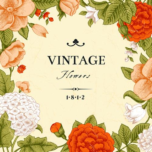 Vintage flower design background art free