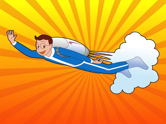 Boy With Jetpack vector free
