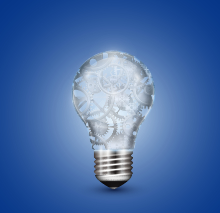 Creative light bulb and blue background vector graphics 01 free
