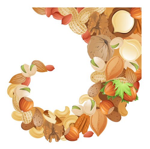Different nuts vector background graphics 01 free
