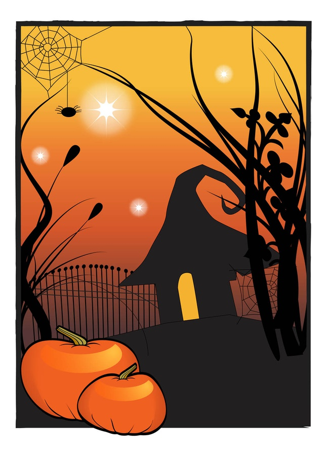 Halloween House Poster vector free