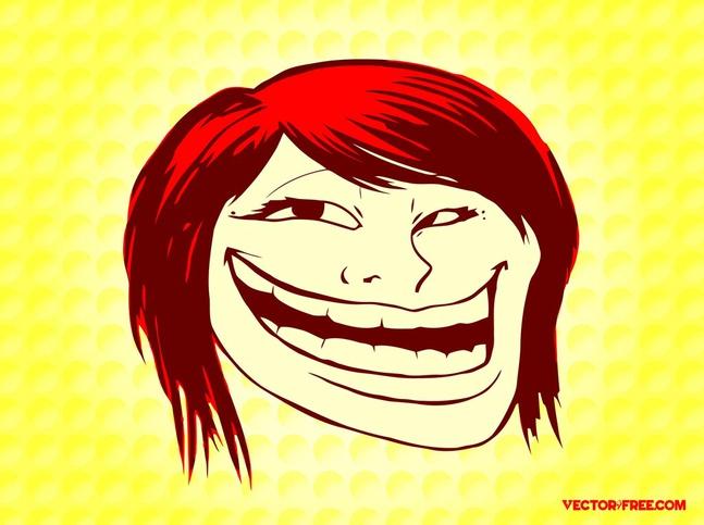 Troll Face Girl vector free