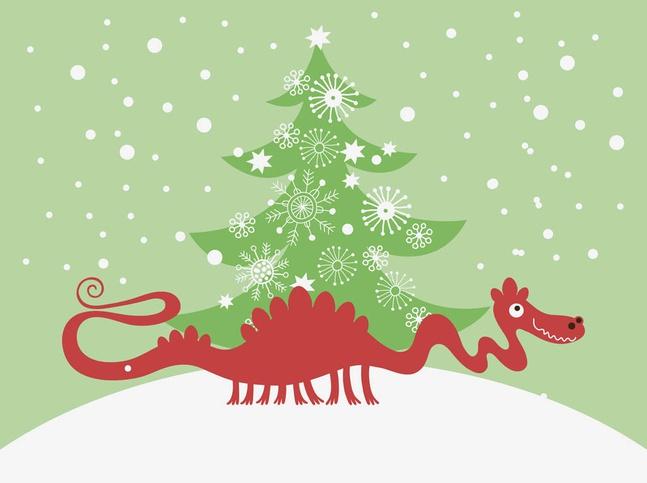Vector Christmas Dragon free