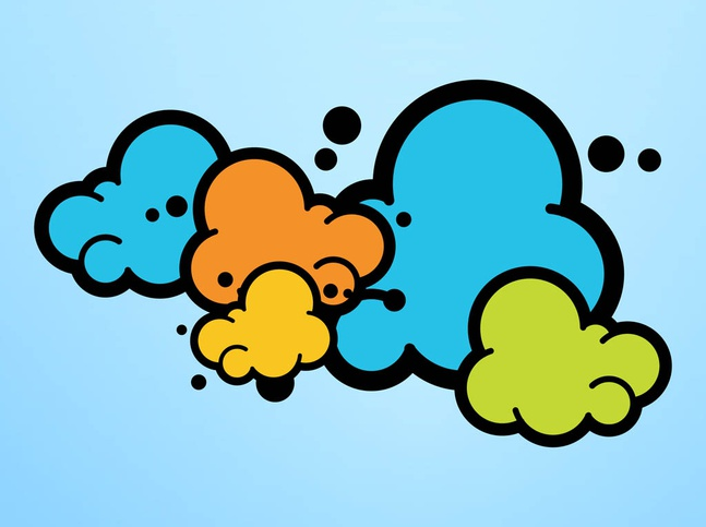 Colorful Cartoon Clouds vector free
