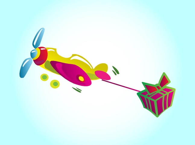 Gift Plane vector free