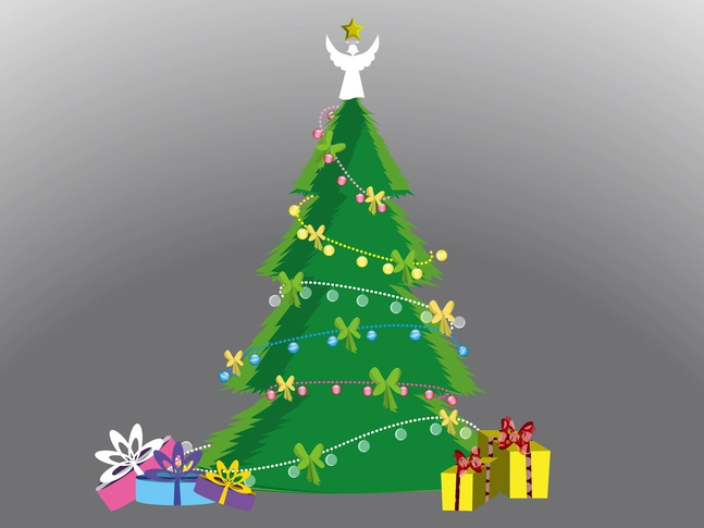 Tree With Presents vector free