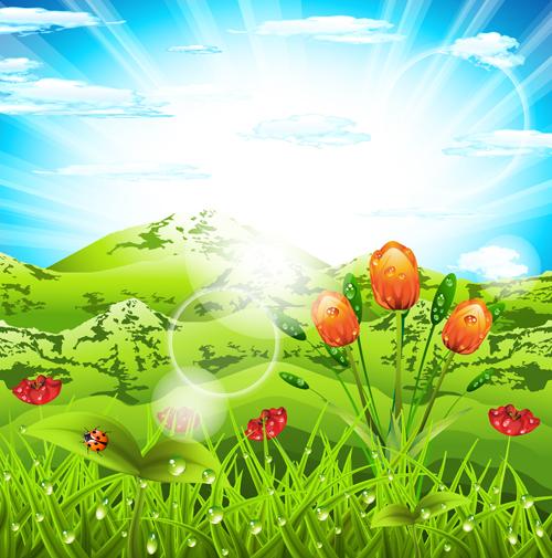 Vibrant spring elements vector background art 02 free