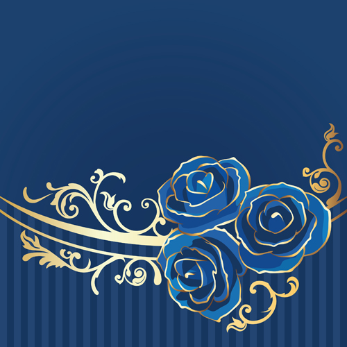 Beautiful blue rose vintage background vector 04 free